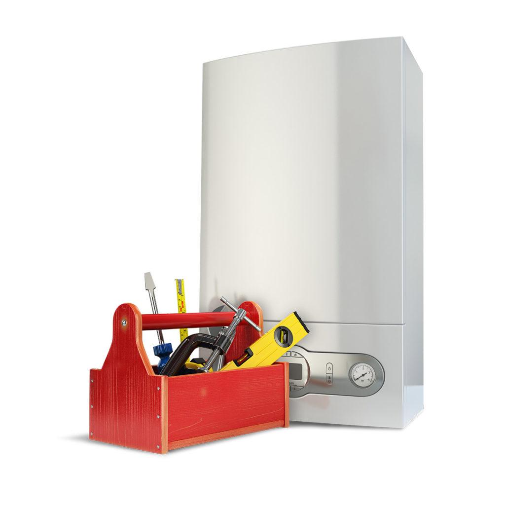 Una caldaia da riparare vicino a una cassetta degli attrezzi: un'immagine esemplificativa!